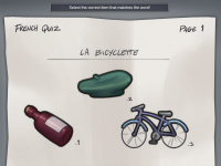 French quiz minigame illustration