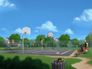 Basketball court screen